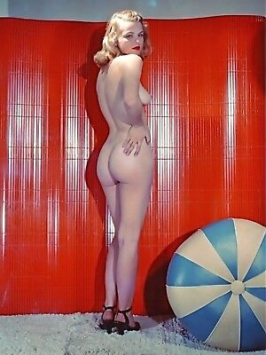 1960's Vintage Nude Pin up Beach Ball 8.5 x 11 Photograph