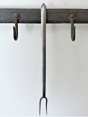 """Antique 1800s EARLY Wrought Iron RARE 12"""" Diminutive MEAT FLESH Tasting FORK"""