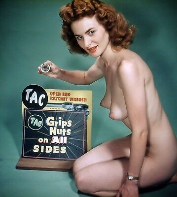 1960's Vintage Nude Pin up Red Head Grip Nuts AD 8.5 x 11 Photograph