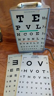 Vintage GOOD-LITE CO. Visual Acuity Lighted Eye Chart Stand  working wall mount