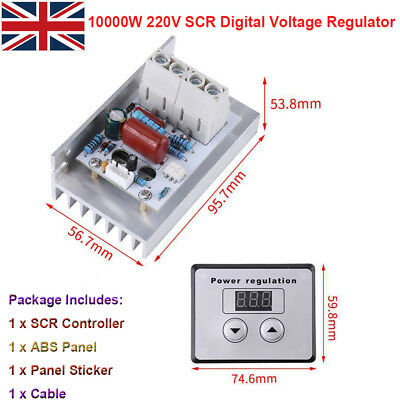 10000W 220V SCR Digital Voltage Regulator Speed Control Dimmer Thermostat AC 80A
