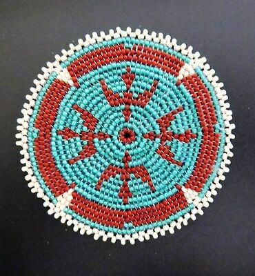 """3"""" Hand Beaded Rosette with Eagle Motif"""