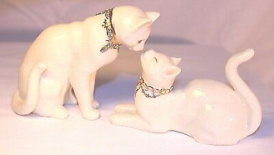 Lenox Awake to a Kiss pair white cat figurines 24 karat gold accent certificate