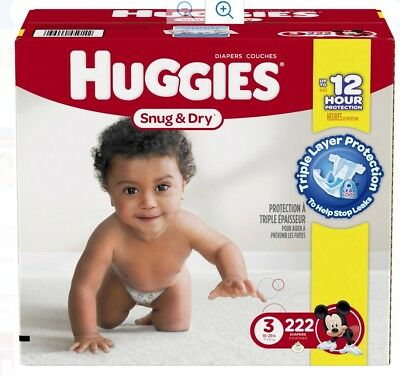 HUGGIES Snug & Dry Diapers, Size 3, for 16-28 lbs., One Month Supply, 222 Count
