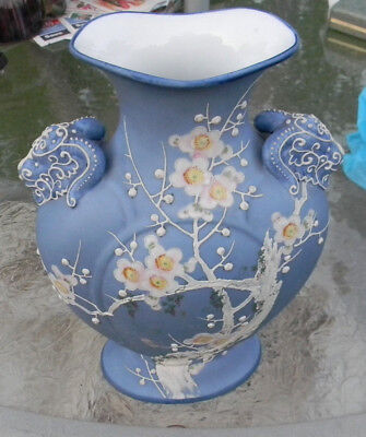 Gorgeous Nippon Vase, Wedgewood Blue Color.  Really Nice Old Vase, 9 1/2 Inches