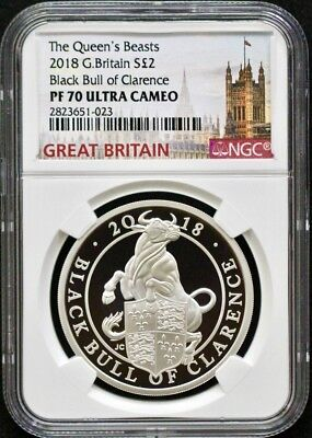 2018 Great Britain Queen's Beast-Black Bull Of Clarence NGC PF70-Great Strike!