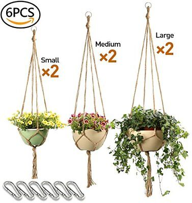 Macrame Plant Hanger Set 4 legs 6 pcs of 3 different size (Pot not Included)