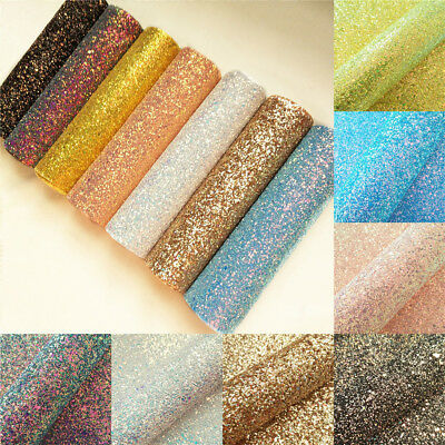Ultra Chunky Hologram Glitter Fabric Vinyl Faux Leather Bows Craft Sheets ZAIONE
