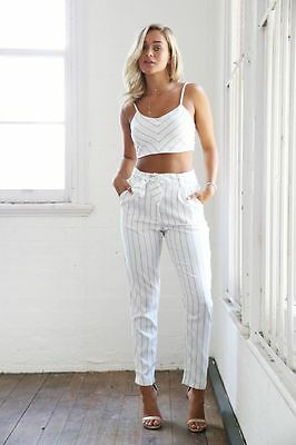 Littlelace boutique white and navy pinstripe co-ord set, size XS