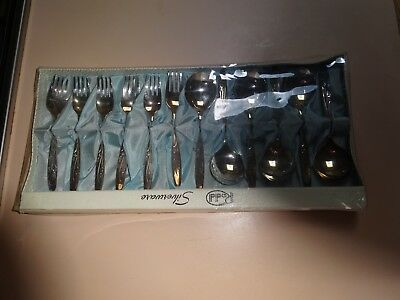 RODD SILVERWARE.Boxed set 6 fruit spoons and 6 dessert forks. Stardust. EPNS A1