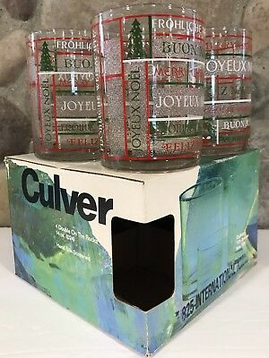 NOS Culver 5th Ave. Double On The Rocks Lowball Glasses International Christmas