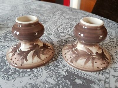 Lovely Pair Of Small Vintage Jersey Pottery Candlesticks