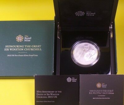 2015 Royal Mint 999 Silver Proof £10 Coin 5 Oz Winston Churchill Collection