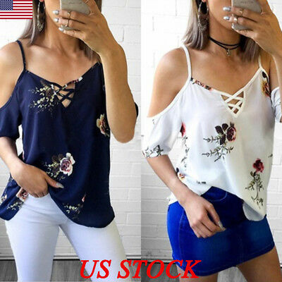 US Womens Cold Shoulder Floral Summer Tops Ladies Loose Casual Blouse T Shirt