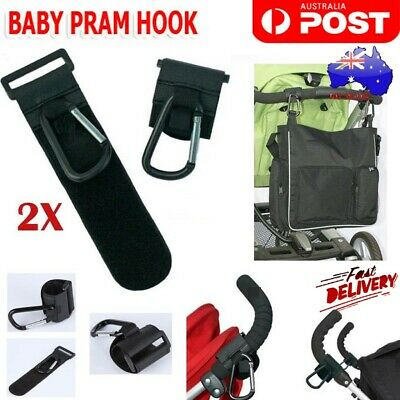 2x New PRAM HOOK Baby Stroller Shopping Bag Clip Carrier Carabiner Hangers