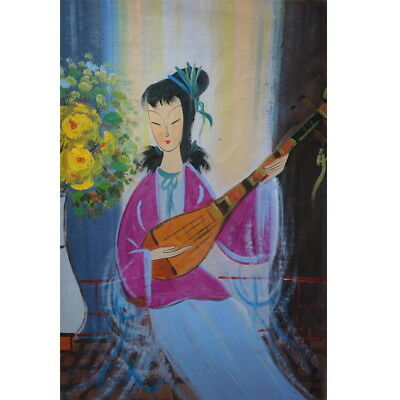 Excellent old Chinese Oil Painting on canvas By Lin Fengmian:lady 004
