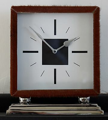 NEW 25cm Fur Metal Mantel Clock - Modern Vintage Classic Silver Brown Chrome
