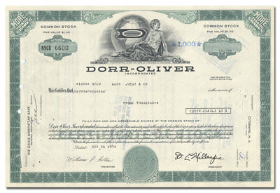 Dorr-Oliver Incorporated Stock Certificate