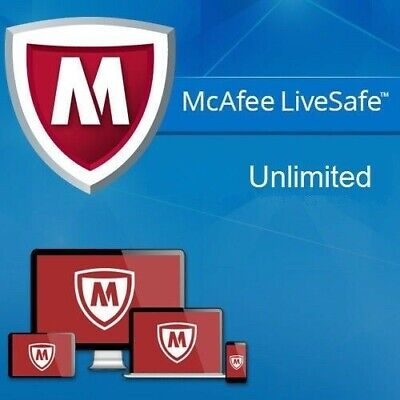 McAfee Live Safe 2019 Dispositivos Ilimitadas / PC 1 año 2018 EU / ES