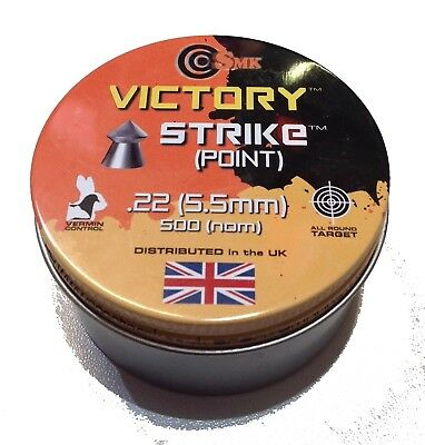 SMK Victory Strike Point .22 (5.5mm)  Air Rifle Pellets Hunting  500 in a tin