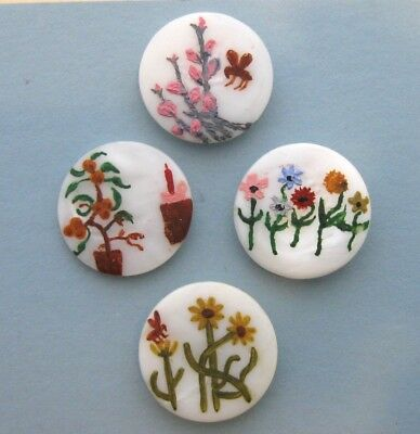 4 Charming Vintage Hand Painted Shell Buttons Blossoms, Bugs and Birthdays