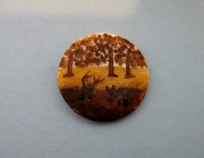 Charming Vintage Hand Painted Shell Button with Two Deer
