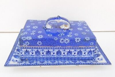 Vintage Shelley Cloisello blue & white butter dish - Rd No 633218 - c 1914