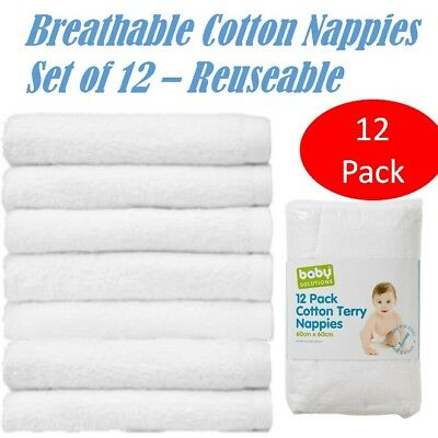 12x White Cloth Cotton Nappies Baby Infant Reuseable Terry Towelling Diaper New