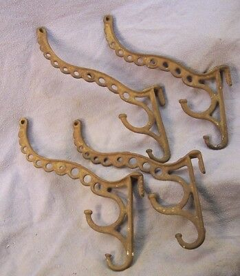 (4) Fancy Antique Cast Iron Hooks As Found (Old Not Repro)