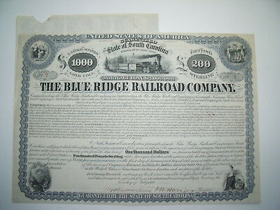 1869 Blue Ridge South Carolina Railroad Henry Clews Signed Train Bond Low #7