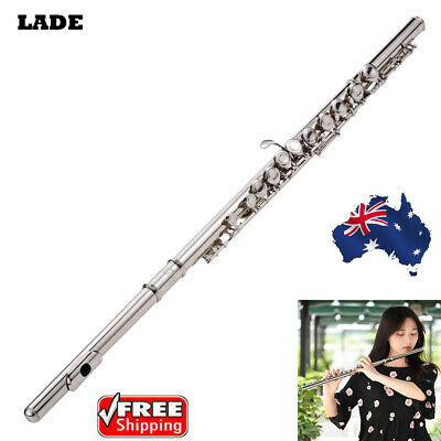 Western Concert Flute Silver Plated 16 Holes C Key w/Padded Bag+Care Kit W3Z1