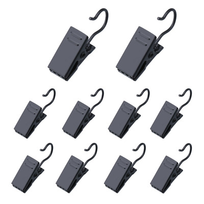 Shappy 100 Pack Stainless Steel Clip Hook Metal Hanging Curtain Clips, Black