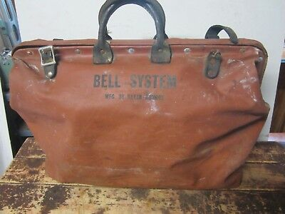 Vintage Bell System Klein-Buhrke Naugahyde Tool Bag  Shabby Chic Carry On Bag