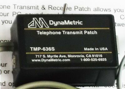 DynaMetric TMP-636S Telephone Transmit & Receive Patch. Record telephone calls.