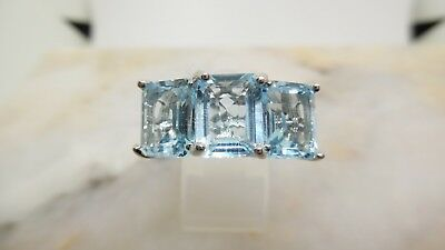 925 solid Sterling Silver Rhodium plated genuine Sky Blue Topaz Ring. sz P