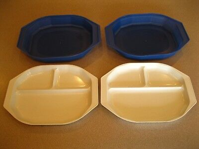 Anchor Hocking DIVIDED PLATES Freeze Heat u0026 Serve Microwave Lot of 2 with Lids & 2 ANCHOR Hocking Hi-Heat Melamine