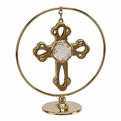 Crystocraft Gold Circle Ring Cross Ornament Gift with Swarovski Crystals