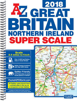Great Britain Super Scale Road Atlas by A-Z Maps (A3 Spiral, 2018)
