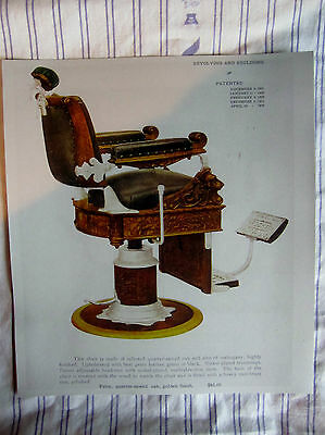 1908 KOCHS' Vintage Quarter-Sawed Oak/Mahogany Reclining Barber Chair Sign Ad