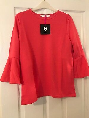 V By Very Crepe Double Sleeve Frill Top Coral Ladies Uk Size 14 Brand New