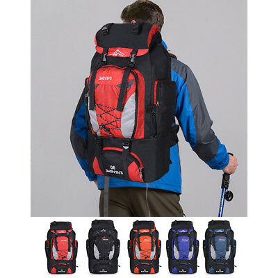 80L Large Nylon Rucksack Backpack Travel Bag Camping Hiking Outdoor Luggage Bag
