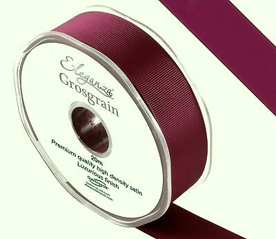 Premium Quality Burgundy Red Cut Lengths Double Sided Grosgrain Ribbon 5 Widths