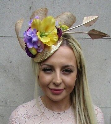 Gold Lilac Purple Yellow Flower Feather Hat Hair Fascinator Races Sequin 5856