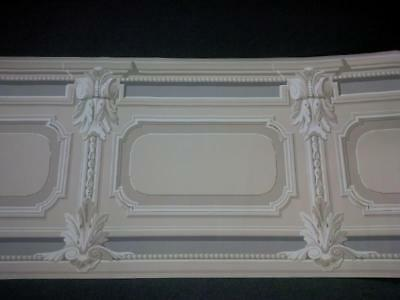 """Victorian Wainscoting Design Gray And Taupe Wallpaper Border-27"""" Wide"""