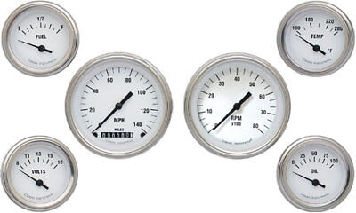 Classic Instruments WH01SLF White Hot Series 6-Gauge Set 3-3/8 Elec Speedometer