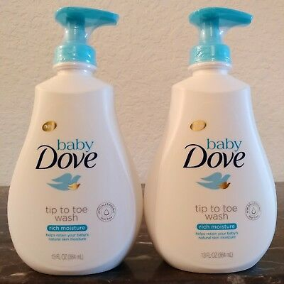 (2) Baby Dove Tip to Toe Wash Rich Moisture ~ 2 Pack Lot ~ Free Ship