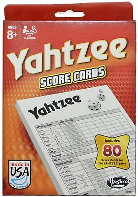 2 pk 80 YAHTZEE SCORE CARDS Pad Sheet Replacement refill Classic Dice Game Yacht