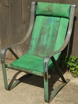 1930s Art Deco Machine Age McKay Chrome Springer Sling Chair * AS IS