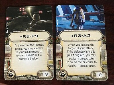 X-wing Minis R5 P9 and R3 A2 lot of 2 Astromech Upgrade Cards