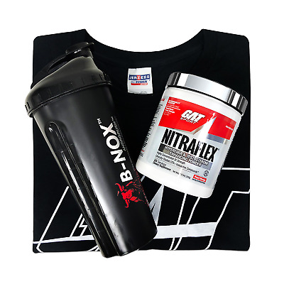 GAT Nitraflex 30 Servings Pre-Workout with GAT T-shirt and a black Shaker